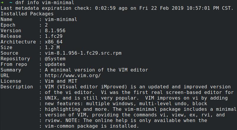 dnf info vim-minimal